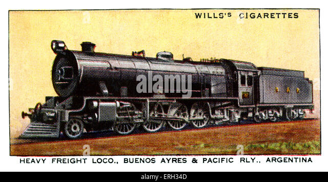 Argentinian Freight Locomotive. 1930s. Heavy Freight Locomotive on the Buenos Ayres & Pacific Railway Argentina. - Stock Image