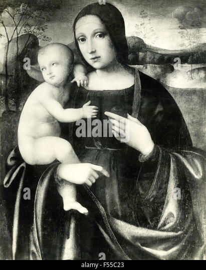 Madonna And Child Wall Painting Near Urbino