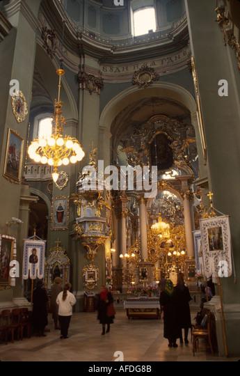 Ukraine L'vov L'viv St. George Greek Catholic Cathedral interior religion - Stock Image