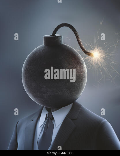 Businessman with a bomb in place of his head with a lit fuse - 3D illustration - Stock-Bilder