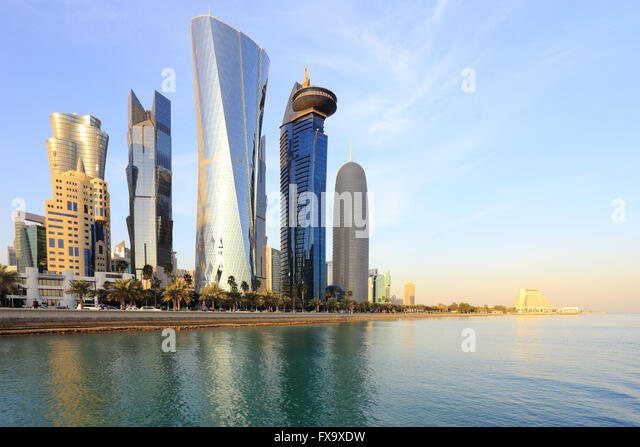 DOHA, QATAR -JANUARY 31, 2016: A view of the towers looming over Doha Bay. - Stock Image