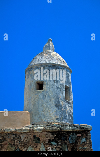 Isla Margarita island Santa Rosa castle Venezuela fort turret tower landmark tourist attraction  nobody - Stock Image