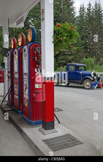 Old petrol station. Gustavus. Alaska. USA - Stock Image