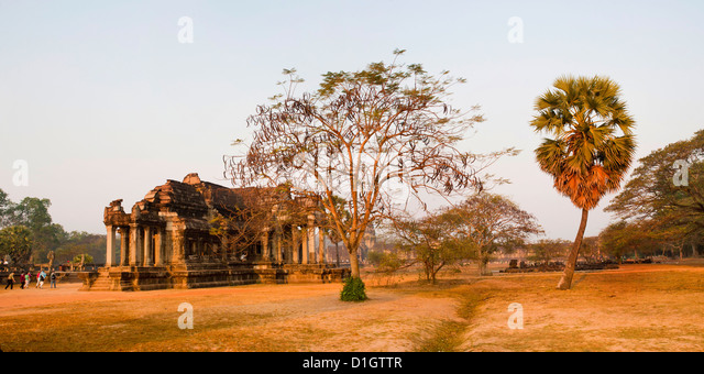 Panoramic hoto of Angkor Wat Library, Angkor Wat Temple Complex, Siem Reap, Cambodia, Indochina, Southeast Asia, - Stock Image