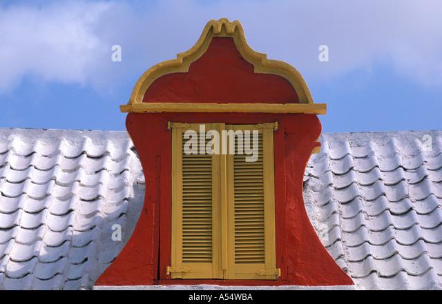Aruba Oranjestad Dutch Architecture Colorful Window - Stock Image