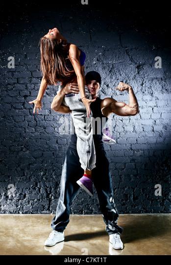 Dancer couple. Contrast colors effect. - Stock Image