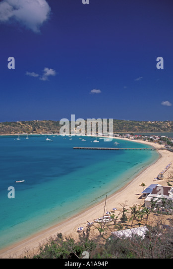 Anguilla beach above Sandy Ground beach overview scenic landscape - Stock Image