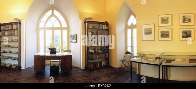 Hermann Hesse museum inside literature author writer Montagnola panorama Switzerland Europe Ticino wide an - Stock Image
