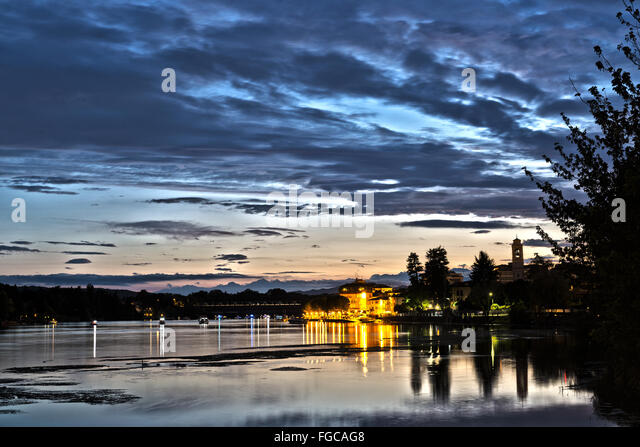 Sunset on the river Ticino in the district of Sesto Calende (Varese) in a summer cloudy afternoon, Italy - Stock Image