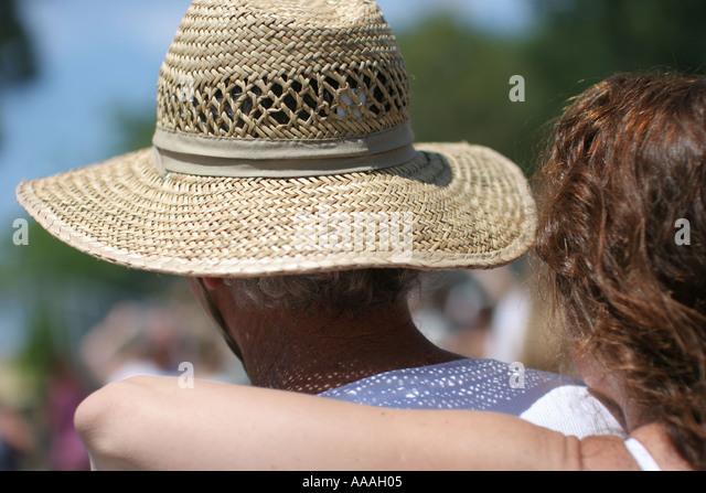 Florida, Zydeco Festival, Cajun, couple, straw hat, - Stock Image