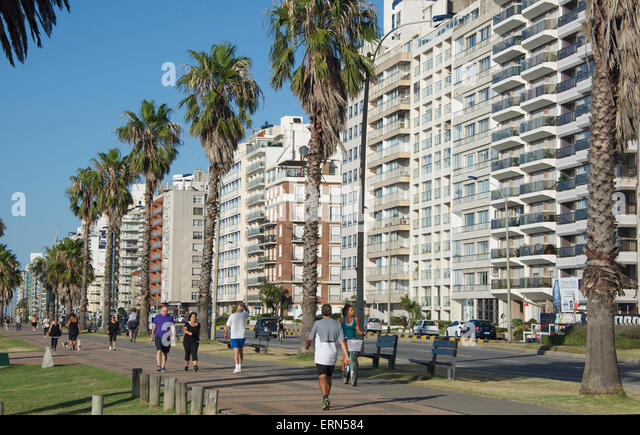 Seaside apartment blocks Montevideo Uruguay - Stock Image