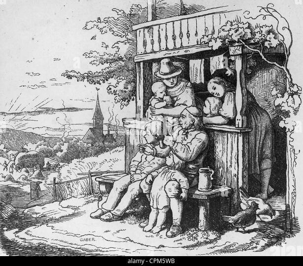 Family ideal, around 1850 - Stock-Bilder