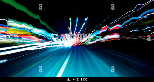 Blurred motion of highway scene - Stock Image