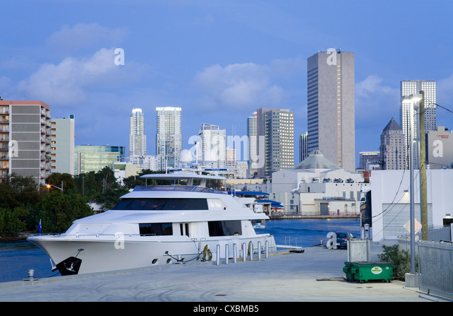 Miami River and skyline, Miami, Florida, United States of America, North America - Stock Image