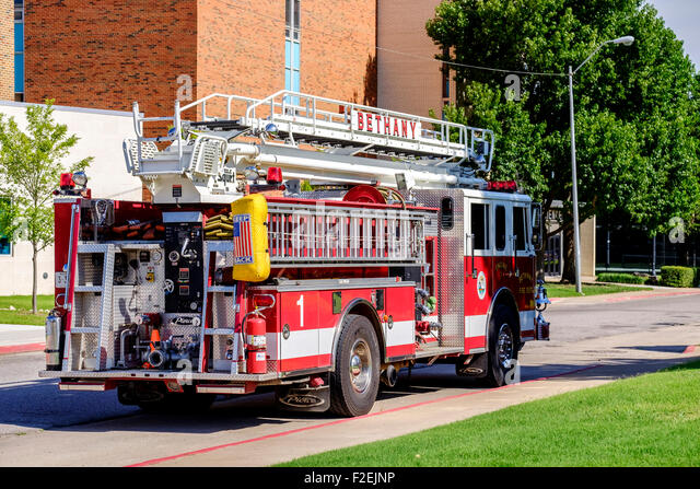 A fire engine shot from the rear-side in Bethany, Oklahoma. USA - Stock Image