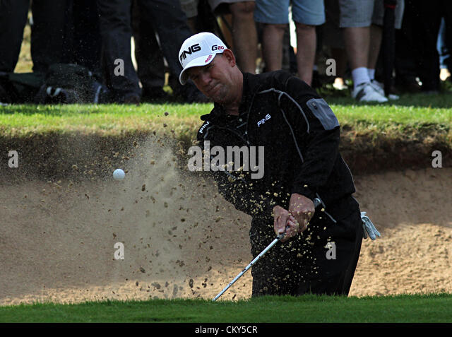 01.09.2012. Mike Cunning (USA) in action during the second round of the European Senior Tour's Travis Perkins - Stock Image