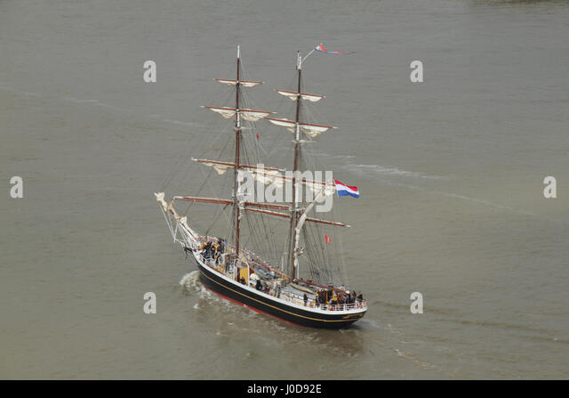 London, United Kingdom - April​ ​12: The Morgenster sails around the O2 Arena on the river Thames ahead of the Tall - Stock Image