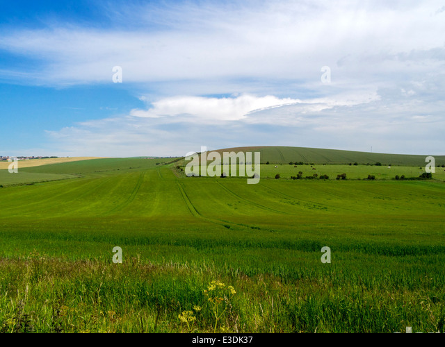 The South Downs near Woodingdean, Brighton, East Sussex, UK - taken from near Ovingdean - Stock Image