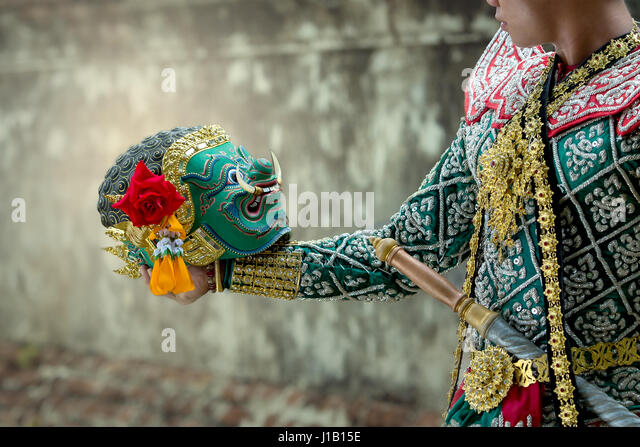 Kumbhakarna and Hanuman Art culture Thailand Dancing in masked khon in literature Ramayana of asia. - Stock Image