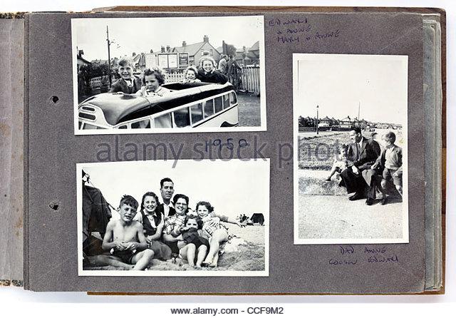 happy family moments photo album page 1950 England - Stock-Bilder