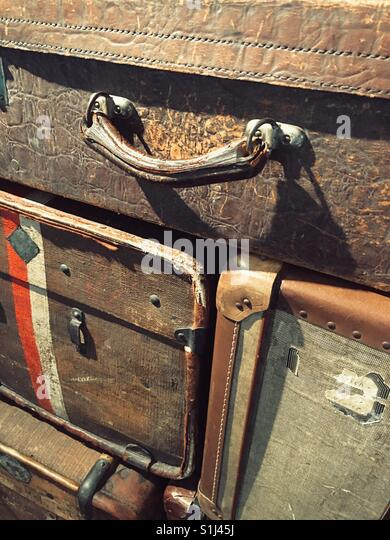 A stack of vintage suitcases - Stock Image