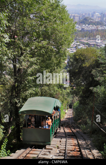 Chile Santiago Cerro San Cristobal Funicular Parque Metropolitano urban park inclined plane cliff railway train - Stock Image