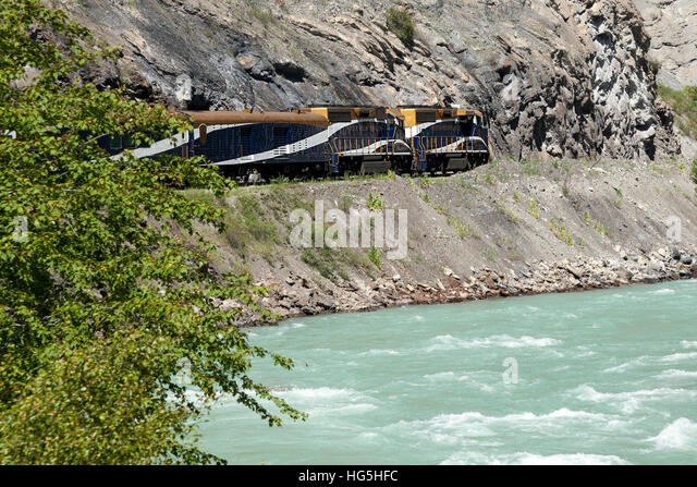 The Rocky Mountaineer train on the Canadian Pacific Rail route through the Rocky Mountains, Canada near Vancouver. - Stock Image