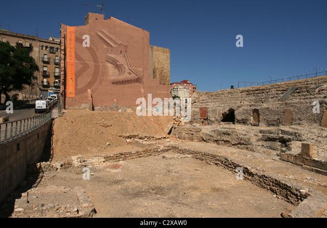 View of ruins of Roman Circus - Hippodrome Tarragona Catalonia, Spain - Stock Image
