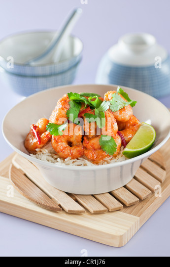 Thai red prawn curry Thailand Food - Stock Image