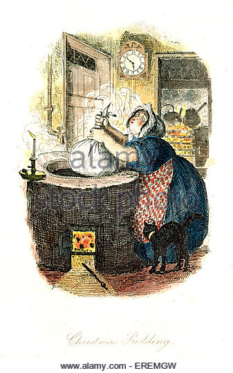 Victorian Christmas card, 'The Christmas Pudding'. Courtesy of the V&A, London, UK. - Stock Image