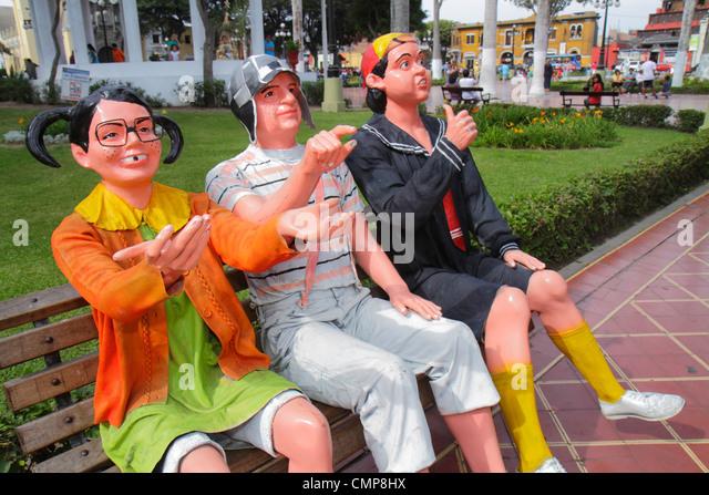 Lima Peru Barranco District Parque Municipal urban park bench sculpture El Chavo del Ocho Mexican television sitcom - Stock Image