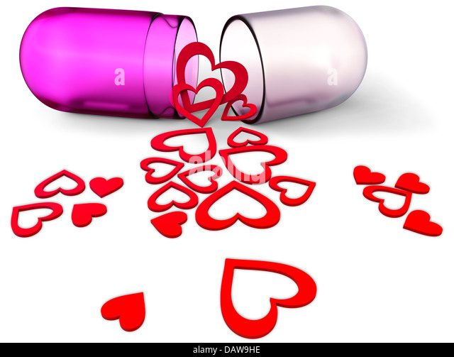 3d love pill with red hearts for Valentine's Day - Stock-Bilder