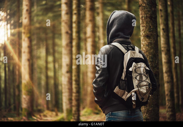 Young hooded man hiking in the woods, freedom and nature concept - Stock-Bilder