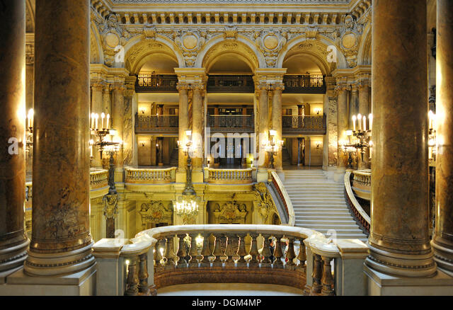 Interior, foyer, Opéra Palais Garnier opera, Paris, France, Europe - Stock Image