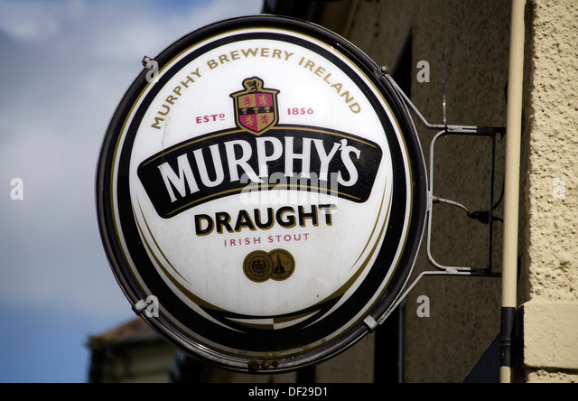 Outdoor sign for Murphy's Draught Irish Stout made at Murphy's Brewery in Cork, Ireland. - Stock Image