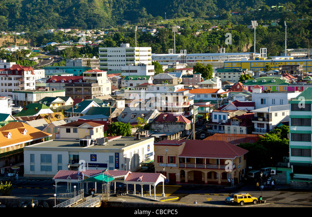 Roseau Dominica city overview above Eastern Caribbean cruise port - Stock Image