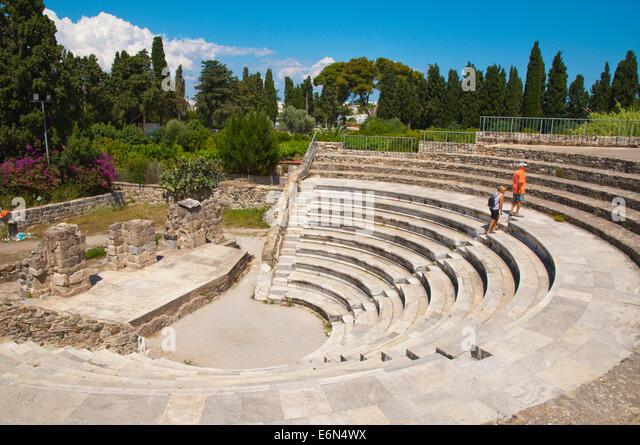 Odeon, the ancient amphitheatre, Kos town, Kos island, Dodecanese islands, Greece, Europe - Stock Image