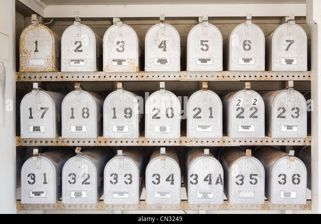 Numbered mail boxes - Stock Image