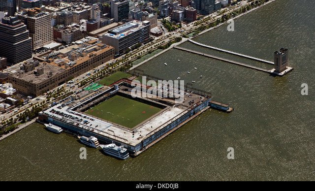 aerial photograph Pier 40, Hudson River Park, Manhattan, New York City - Stock Image