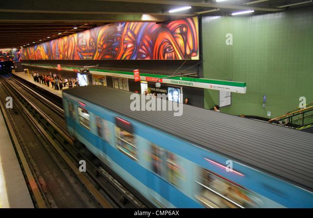 Chile Santiago Providencia Metro Station Parque Bustamante subway public transportation rapid transit train mural - Stock Image