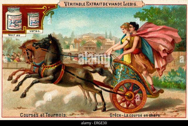 Greek chariot race. Caption reads: 'Grèce - La course en chars'. Liebig card series: Courses et Tournois - Stock Image