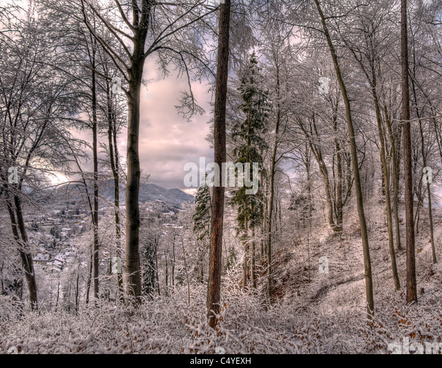 DE - BAVARIA: Winter Scene on the Kalvarienberg at Bad Toelz - Stock Image