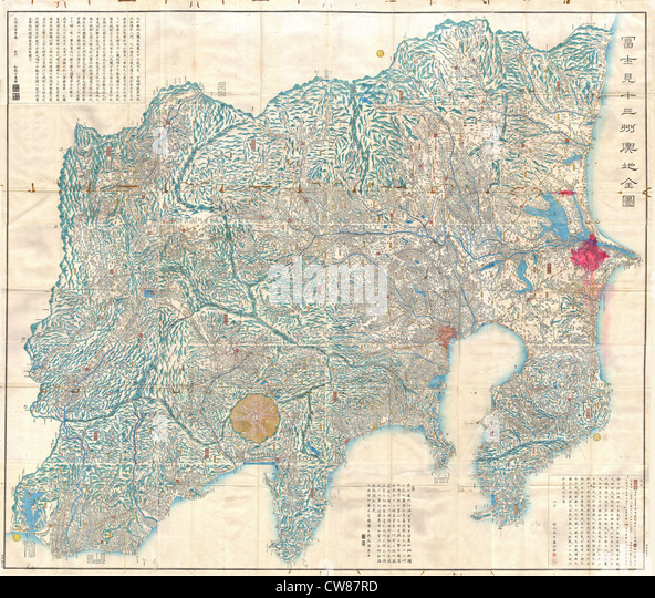 1843 Tienpo 14 Edo Period Map of Mt. Fuji, Tokyo, and Vicinity - Stock Image