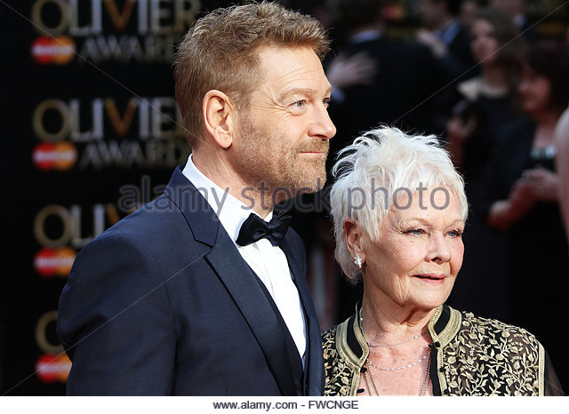 London,Great Britain. April 3rd, 2016. UK, London: Judi Dench and Kenneth Branagh hit the red carpet for the Olivier - Stock Image