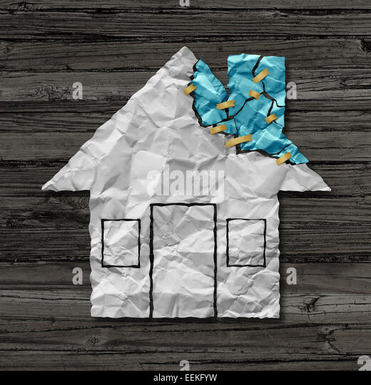 Home repair concept and house improvement symbol as crumpled paper shaped as a residential structure with torn pieces - Stock-Bilder