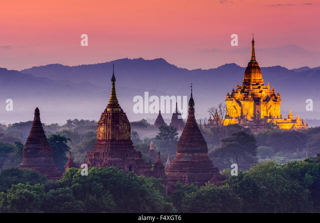 Bagan, Myanmar ancient temples at dusk. - Stock-Bilder