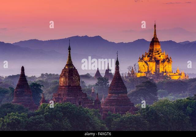 Bagan, Myanmar ancient temples at dusk. - Stock Image