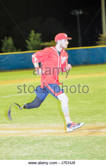 Miami Beach Florida Flamingo Park WWAST Wounded Warrior Amputee Softball Team disabled veterans soldiers rehabilitated - Stock Image