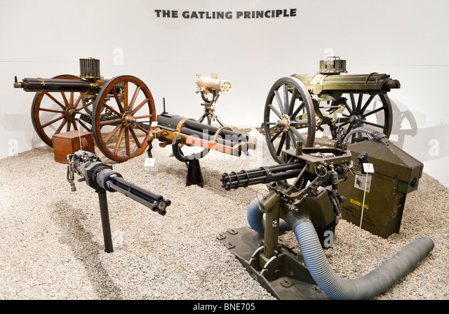 An exhibit of early machine guns in the Royal Armouries Museum, Leeds - Stock Image