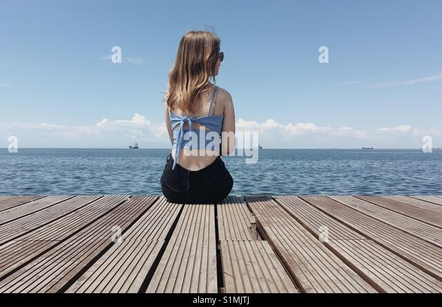 by the sea. - Stock Image